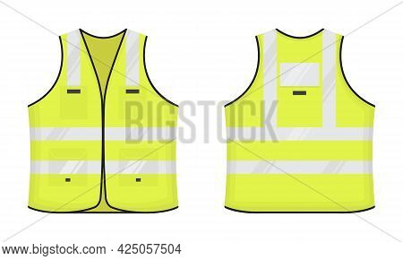 Safety Reflective Vest Icon Sign Flat Style Design Vector Illustration Set. Yellow Fluorescent Secur