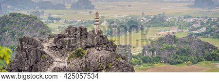 Top Pagoda Of Hang Mua Temple, Rice Fields, Ninh Binh, Vietnam. Vietnam Reopens Borders After Quaran