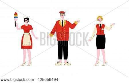 Hotel Staff Character In Uniform With Chambermaid And Concierge Vector Set