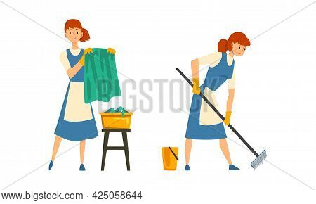 Cleaning Service With Woman In Apron Working Mopping Floor And Doing Laundry Vector Set
