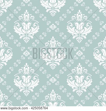 Orient Classic Pattern. Seamless Abstract Background With Vintage Elements. Orient Light Blue And Wh