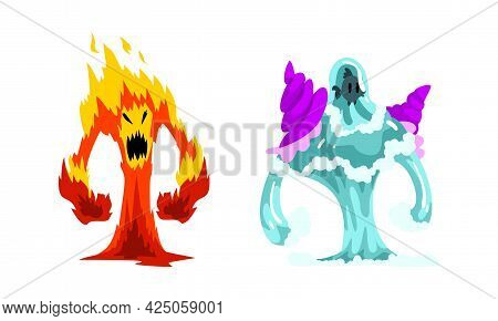 Fire And Water Fantastic Elemental Creature Vector Set
