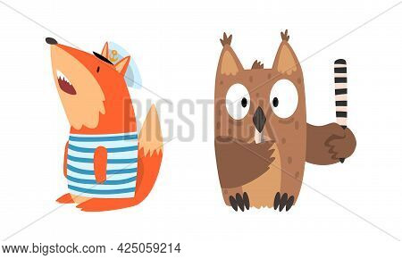 Humanized Animals Of Different Professions With Fox Sailor And Owl Police Officer Vector Set