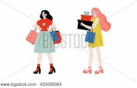 Woman With Shopping Bags Making Purchase In Shopping Mall Vector Set