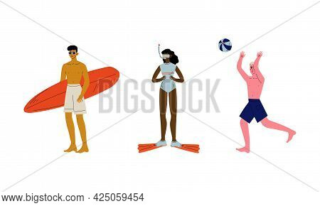 People Characters Having Summer Vacation On Sea Shore Wearing Swimsuit And Sunbathing Vector Set
