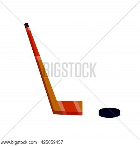 Hockey Stick And Puck. Sports Equipment. Winter Games. Flat Cartoon Illustration Isolated On White