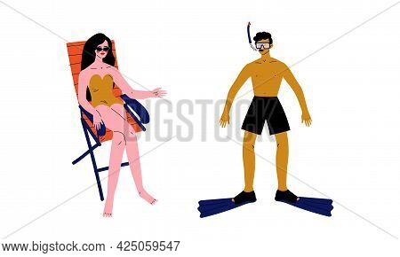 Man And Woman Characters Having Summer Vacation On Sea Shore Wearing Swimsuit And Sunbathing Vector
