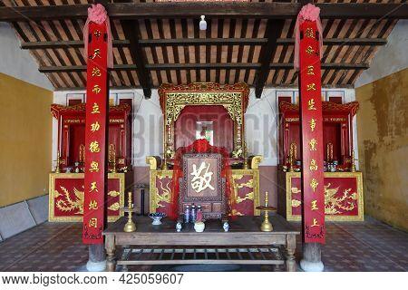 Hoi An, Vietnam, May 23, 2021: Interior Of Van Thanh Mieu Cam Pho Temple In Hoi An, Vietnam