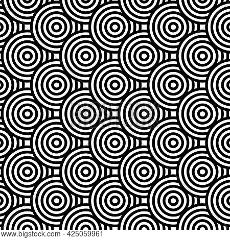 Japanese Traditional Seamless Pattern. Circle Black On White Background.design For Fabric,print,prod
