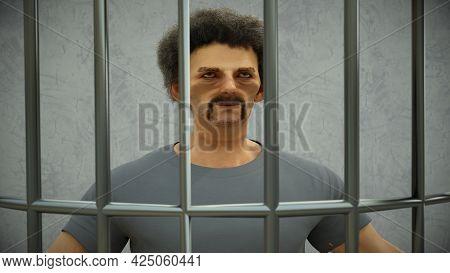 Man In Jail Criminal Prisoner 3d Illustration