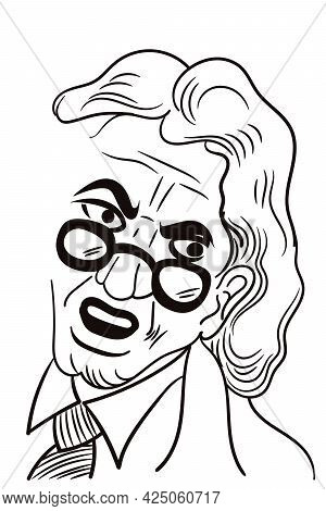 Man With Spectacle Getting Angry Hand Drawn Line Art Sketch Vector Illustration