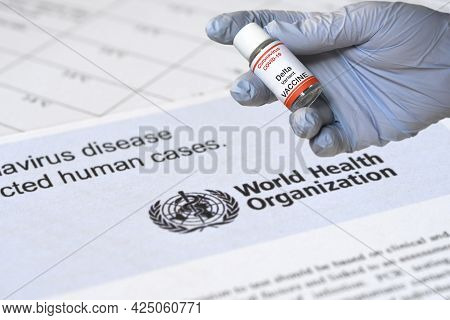 Florence, June 2021: Hand Of Doctor Hold Hypothetical Vial Of Covid-19 Vaccine To Immunize From The