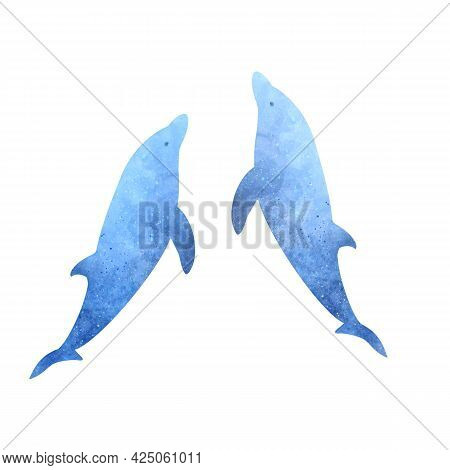 Set Of Two Blue Watercolor Aquarelle Dolphins On White Background Hand Drawn Digital Illustration