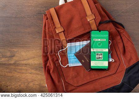 Vaccine Passport, Smartphone Showing Health Passport Of Vaccination Certification, Status Proof Immu