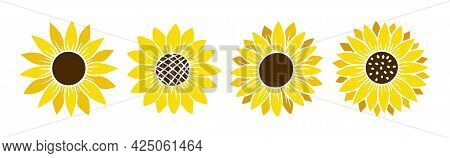Sunflower Simple Icon Set. Flower Silhouette Vector Illustration. Sunflower Graphic Logo Collection,