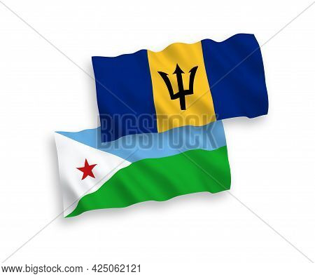 National Fabric Wave Flags Of Republic Of Djibouti And Barbados Isolated On White Background. 1 To 2