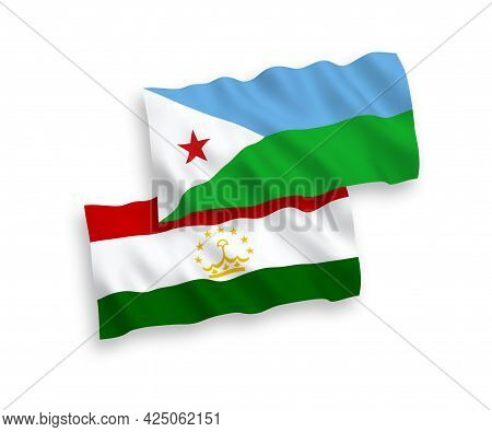National Fabric Wave Flags Of Republic Of Djibouti And Tajikistan Isolated On White Background. 1 To