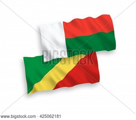National Fabric Wave Flags Of Republic Of The Congo And Madagascar Isolated On White Background. 1 T
