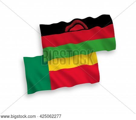 National Fabric Wave Flags Of Malawi And Benin Isolated On White Background. 1 To 2 Proportion.