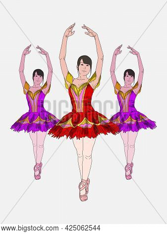 Young Ballet Dancer Standing In Pose Flat Design On White Background Set Of Hand Drawn Sketches Vect