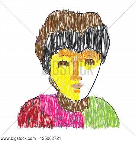 Young Teenage Boy Hand Drawn Line Art Sketch Vector Illustration