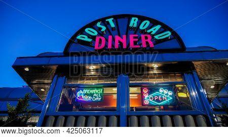 NORWALK, CT, USA - JUNE, 24, 2021: Post Road Diner with evening lights