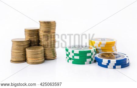 Casino Chips And Money Golden Coins Stack For Games Like Poker, Card And Blackjack, Roulette. Bettin