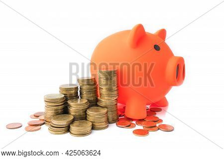 Stacking Coins Pile And White Piggy Bank For Savings With Money And Planning Step Up To Growing. Sav