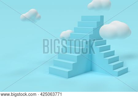 3d Blue Stairs With Clouds. Success Or Growth Concept. Minimal Scene. 3d Rendering Illustration.