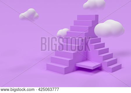3d Purple Stairs With Clouds. Success Or Growth Concept. Minimal Scene. 3d Rendering Illustration.