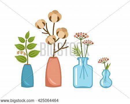 Decorative Vases With Plant Branches. Scandinavian Interior Decor Made Transparent Flowerpots. Minim