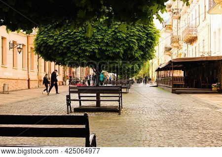 Chernivtsi, Ukraine-may 13, 2021:picturesque Spring Landscape Of Ancient Pedestrian Street In The Ci