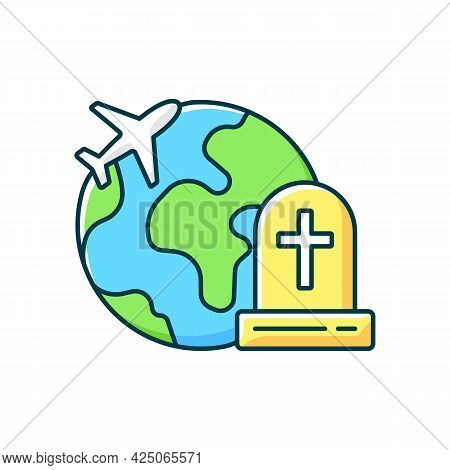 Tombstone Tourism Rgb Color Icon. Cemetery Exploration Enthusiast Traveller. Fly Abroad For Funeral.
