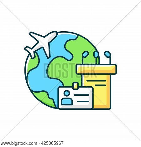 Mice Tourism Rgb Color Icon. Business Trip. International Flight For Professional Meeting. Global Jo