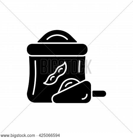 Kinako Black Glyph Icon. Healthy Soybeans Based Flour. Organic Meals Ingredients. Vegeterian Food Ty