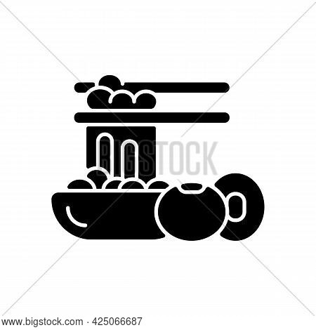 Natto Black Glyph Icon. Traditional Sticky Meals Preparing. Fermented Soybeans. Vegeterian Nutrition