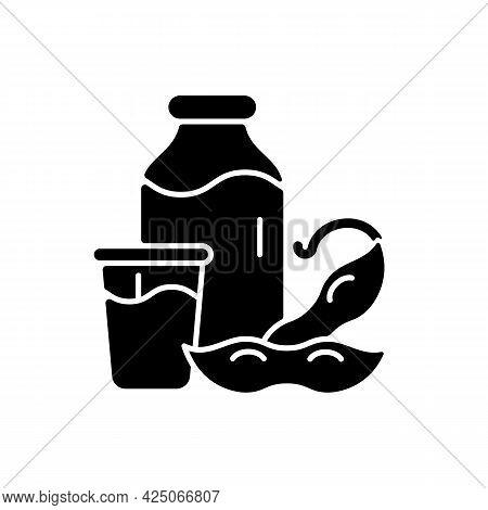 Soy Milk Black Glyph Icon. Plant Based Milk. Grinding Beans. Vegeterian Drinks Types. Healthy Produc