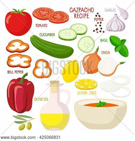 Gaspacho Product Kit. Bowl, Tomato Soup Products. Culinary Course Poster Concept. Dish Of Spanish Cu