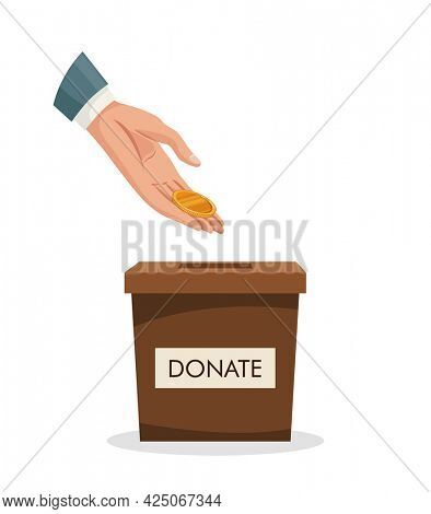 Donation box with human hand insert golden coin, money. Man throws gold coin in a carton box. Donate, giving money charity concept