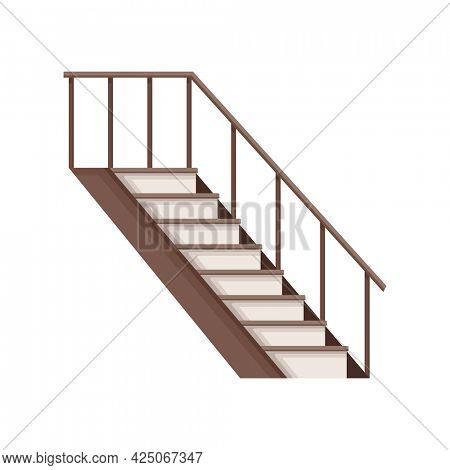 Modern wooden staircase. Isolated cartoon flat icon of stairs. Element for hotel lobby