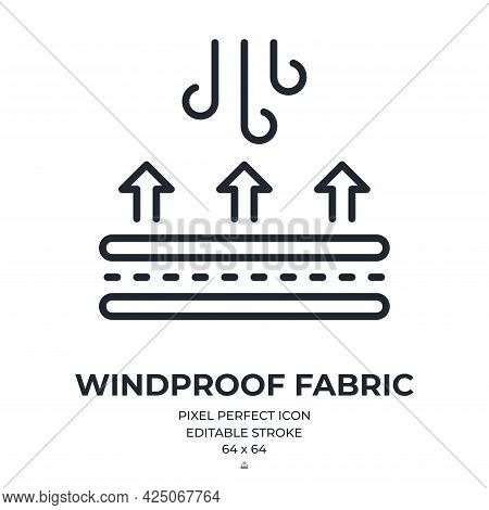 Windproof Fabric Feature Tag Editable Stroke Outline Icon Isolated On White Background Flat Vector I