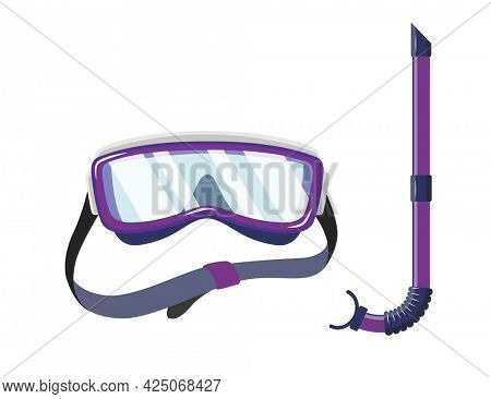 Snorkel mask for diving and swimming. Illustration of scuba diving, swimming masks with snorkel. Realistic diver equipment for summer holidays
