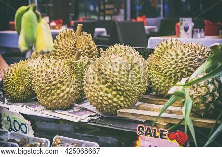 Durian Famous Smelly Fruit In Thailand On The Street Market