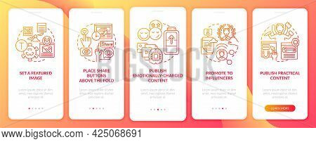 Create Engaging Content Tips Onboarding Mobile App Page Screen. Emotional Content Walkthrough 5 Step