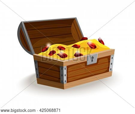 Treasure chest isometric cartoon. Wooden open box full of gold coins and jewels. Precious treasures, crystals, gems and golden coins in pirate chest. Illusration for game user interface