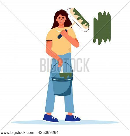 The Girl Holds A Roller With Paint And A Bucket Of Paint, Home Repairs, Painting Walls In The House,
