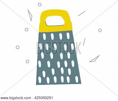 A Grater Drawn By Hand In A Simple Style. A Doodle-style Kitchen Tool