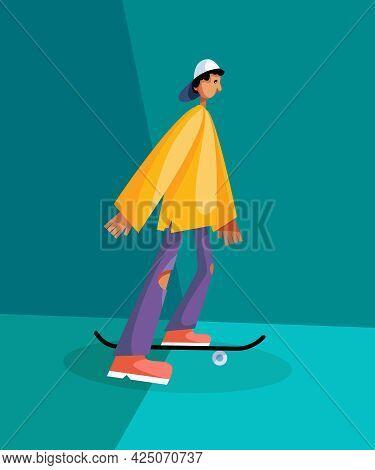 The Boy Skateboarding Posse. Boy On Skateboard Sketch Vector Illustration Isolated. Urban Man Skateb