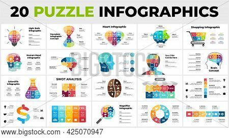 20 Puzzle Infographics Pack. Perfect For Education, Science Or Medicine, Business And Finance. Inclu