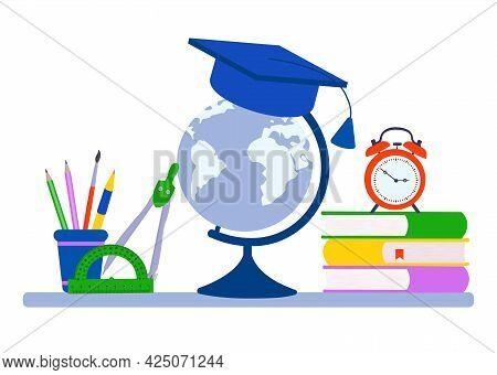 School Supplies Design. Books, Chancellaria, Globe. Vector Fleet Illustration.
